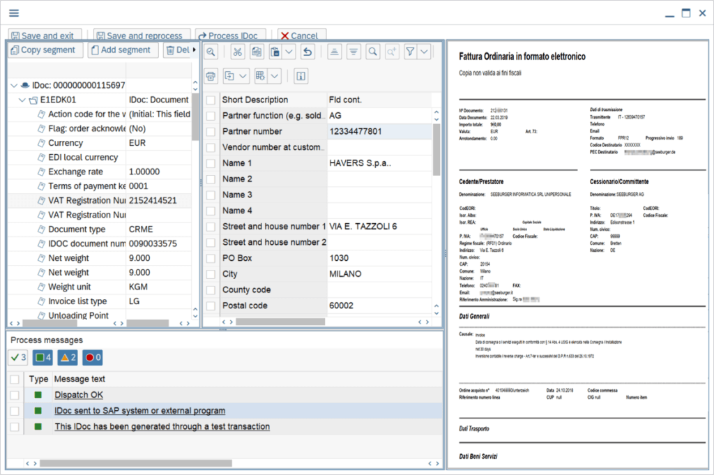 Correcting an Italian invoice in the document processing space