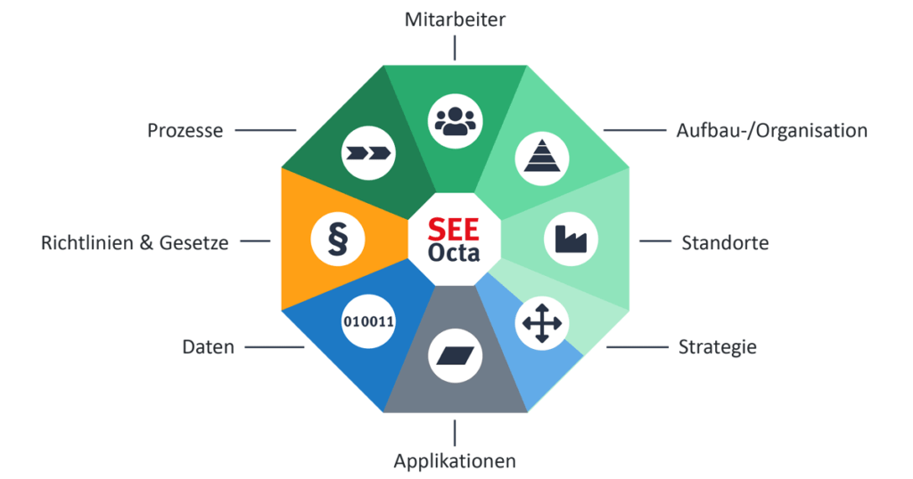 Die acht Perspektiven des SEEOctas für Projektmanagement in der IT