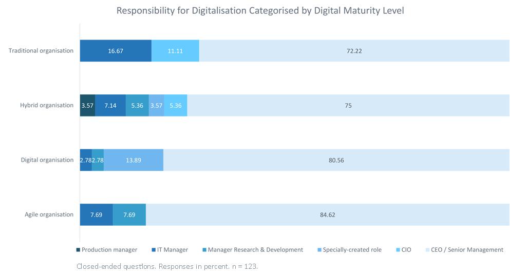 Responsibility for Digitalisation Categorised by Digital Maturity Level